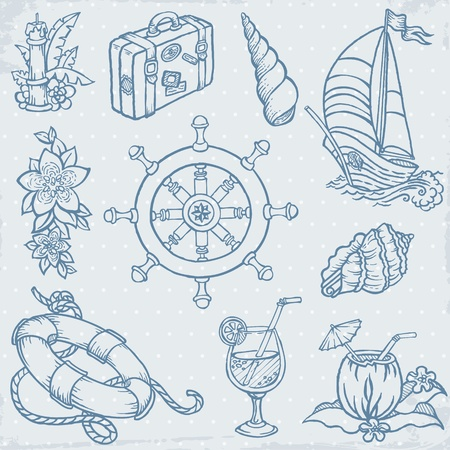 brig: Nautical doodles - Hand drawn collection in vector