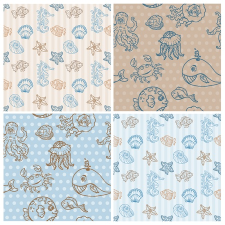 oyster: Marine life Background Collection - seamless pattern