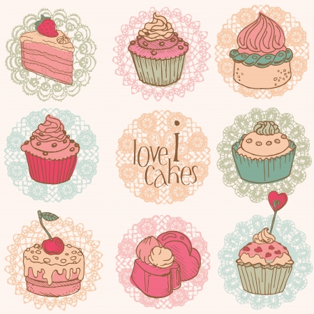Cute Card with Cakes and Desserts - for your design and scrapbook Stock Vector - 12185922