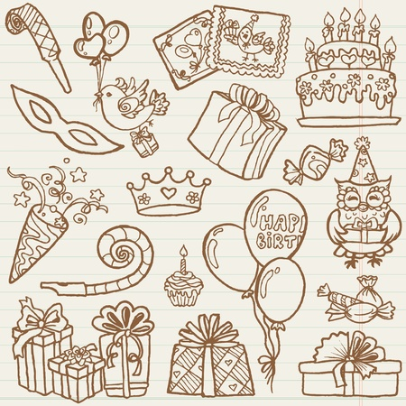 hand drawn: Hand drawn Birthday Celebration Design Elements - for Scrapbook, Invitation  Illustration