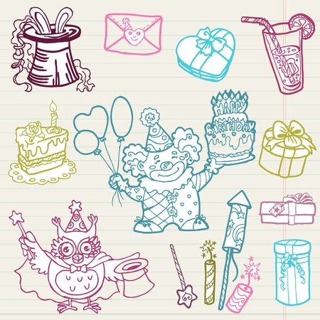 Hand drawn Birthday Celebration Design Elements - for Scrapbook, Invitation  Vector