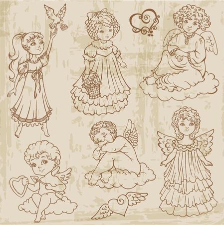muneca vintage: �ngeles del vintage, mu�ecas, Babys - dibujados a mano Vectores