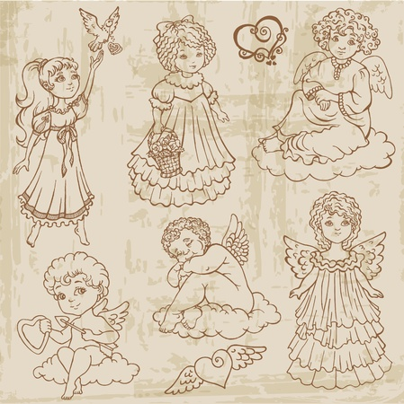 Vintage Angels, Dolls, Babys - hand drawn  Vector