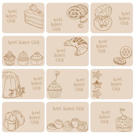 waffles: Juego de tarjetas de visita - Tortas, Dulces y Postres - dibujado a mano Vectores