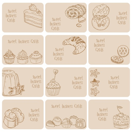 waffle: Set of Business Cards - Cakes, Sweets and Desserts - hand drawn  Illustration
