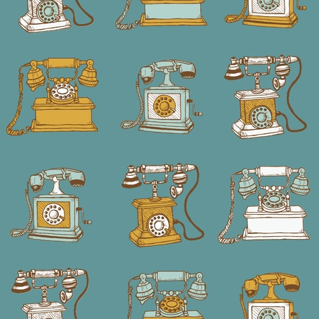 Seamless Background with Vintage Telephones - hand drawn  Vector