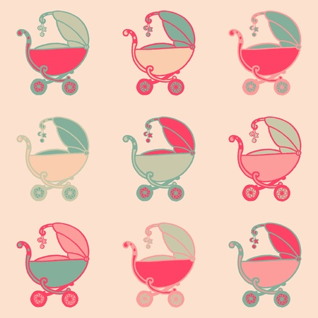 sweet baby girl: Seamless Background with Baby Carriages - hand drawn