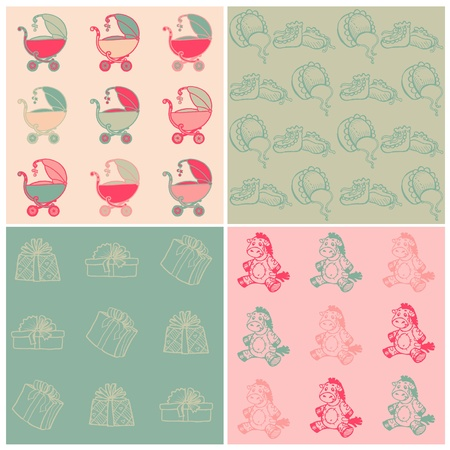Set of Seamless Baby Backgrounds - hand drawn Vector