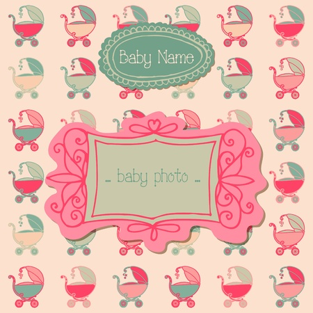Baby Girl Arrival Card with Photo Frame and place for your text  Vector
