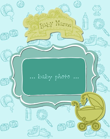 baby boy announcement: Baby Boy Arrival Card with Photo Frame