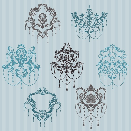 Set of ornamental DAMASK illustrations - for your design, invitation, greetings in vector Stock Vector - 12482318