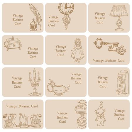 muneca vintage: Juego de Tarjetas de visita de elementos vintage y objetos, dibujados a mano en el vector Vectores