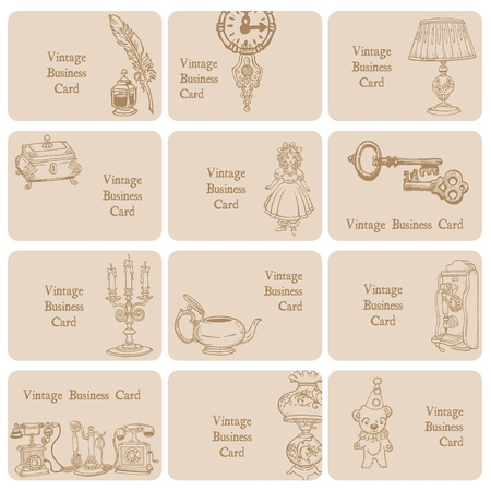 Set of Business Cards - Vintage Elements and Objects - hand drawn in vector Vector