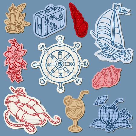 Nautical doodles on Torn Paper- Hand drawn collection in vector Vector