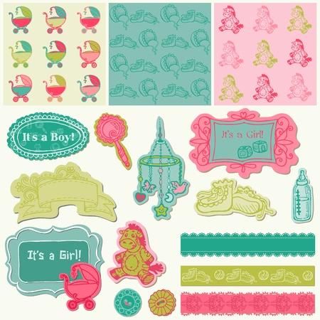 newborn baby girl: Scrapbook Design Elements - Baby Arrival Set in vector