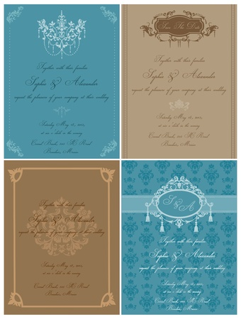 Set of Beautiful Vintage Cards - for wedding, invitation, congratulation in vector Vector
