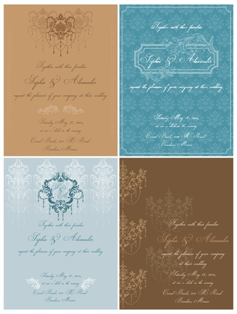 Set of Beautiful Vintage Cards - for wedding, invitation, congratulation in vector Stock Vector - 12482279