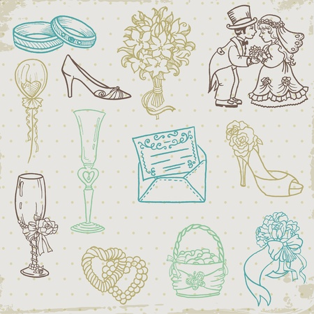 Set of Beautiful Wedding Hand Drawn Elements - in vector Vector