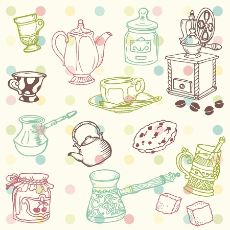 tea party: Set of hand drawn doodle - Tea and Coffee Time in vector
