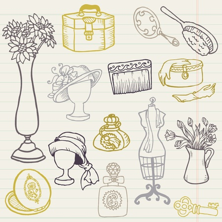 costumer: Set of Fashion Hand drawn Doodles - for your design and scrapbook in vector