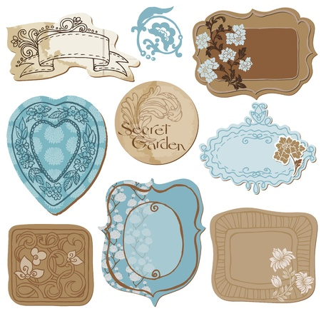 scrapbooking: Set of Cute Doodle Frames - with Flower Elements in vector Illustration