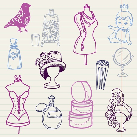 fashion boutique: Set of Fashion Hand drawn Doodles - for your design and scrapbook in vector