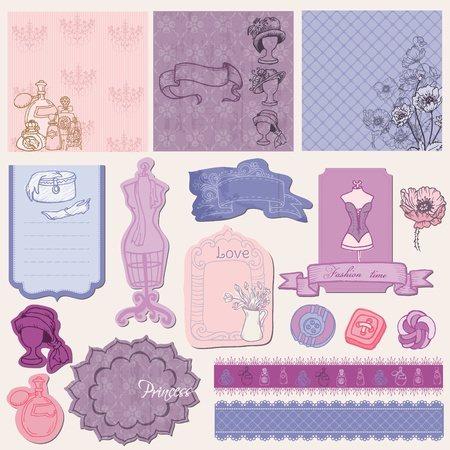 parfume: Scrapbook desgin Elements - Retro Fashion Set in vector Illustration