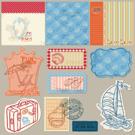 seaside: Summer seaside doodles - Hand drawn collection in vector Illustration