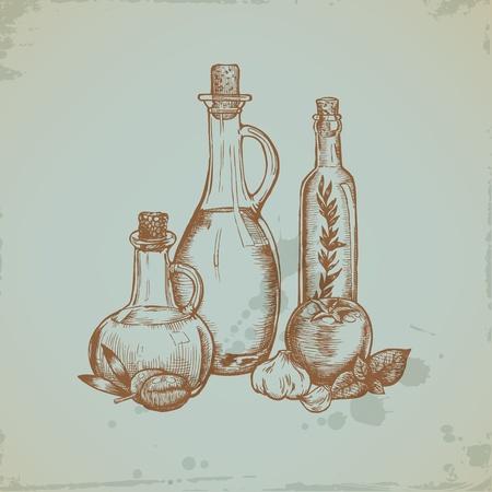 olijf: Getrokken Olijfolie in glazen flessen. Stilleven illustratie. Vector Stock Illustratie