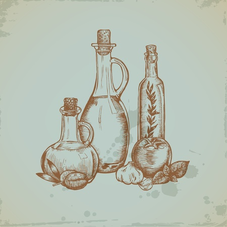 Hand drawn Olive Oil in Glass Bottles. Still life illustration. Vector Vector