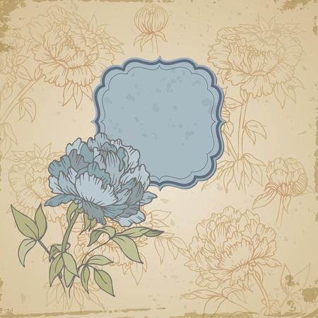 Scrapbook retro background or greeting card with flowers and frame- Vector Vector