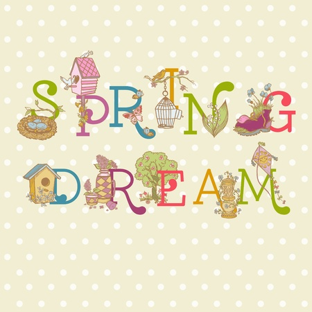 Colorful Spring Text - for scrapbook in vector Vector