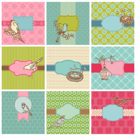 nest egg: Set of Colorful Cards with Vintage Birds - for birthday, wedding, invitation  in vector