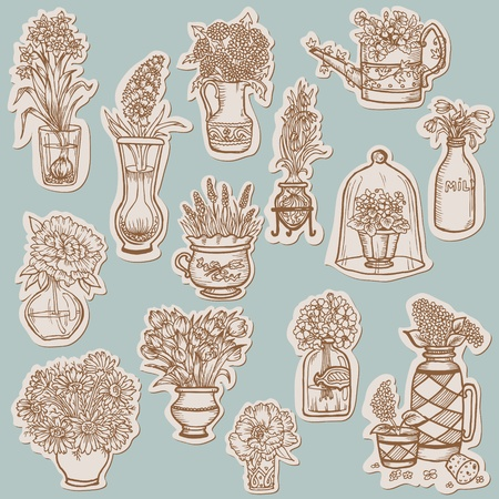 Flower Collection on tags - for scrapbook, desgin in vector  Vector