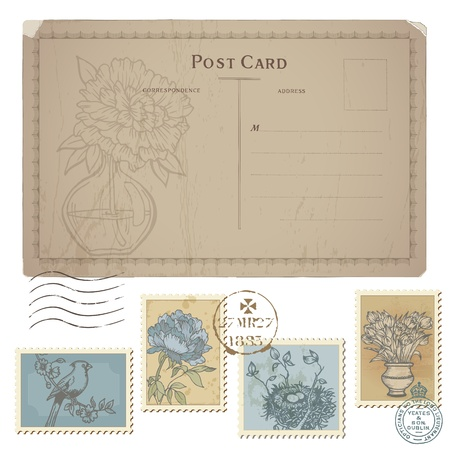 postcard vintage: Vintage Postcard and Set of Postage Stamps - with Flower and Birds in vector Illustration