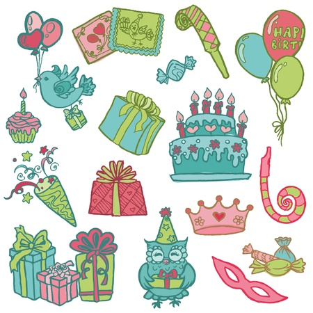 Hand drawn Birthday Celebration Design Elements - for Scrapbook, Invitation in vector Vector