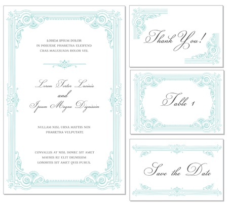 marriage certificate: Vector Vintage Wedding Frame Set - for invitations or announcements