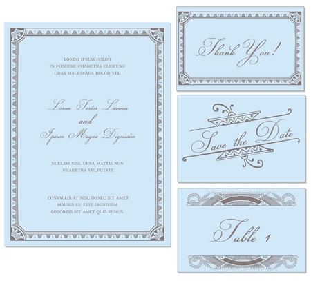 wedding card design: Vector Vintage Wedding Frame Set - for invitations or announcements
