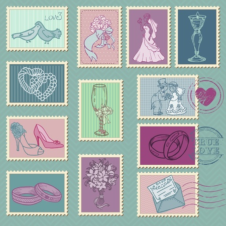 Wedding Postage Stamps in vector Vector