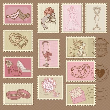 Wedding Postage Stamps in vector Vector