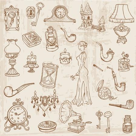 antique woman: Conjunto de diversos elementos de la �poca Doodle - dibujados a mano en el vector