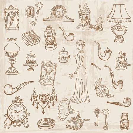 lady clock: Set of Various Vintage Doodle Elements - hand drawn in vector