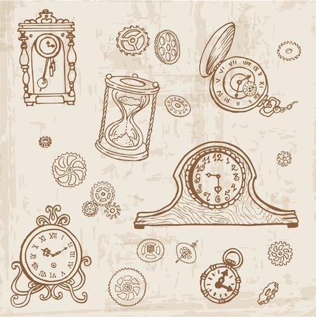 antique clock: Set of Vintage Doodle Clock and gear - hand drawn in vector Illustration