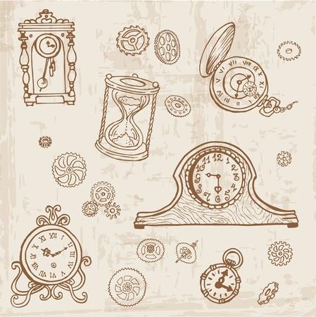Standuhr gezeichnet  Alte Uhr Lizenzfreie Vektorgrafiken Kaufen: 123RF