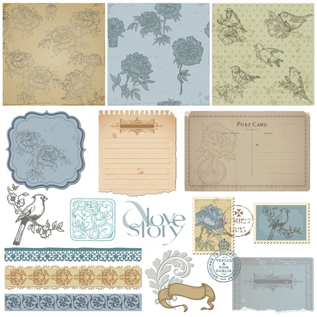 Scrapbook design elements - Vintage Bird and Peony Set - in vector Stock Vector - 12482389