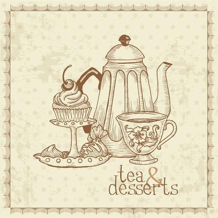 cup tea:  Tea and Desserts - Vintage Menu Card in vector