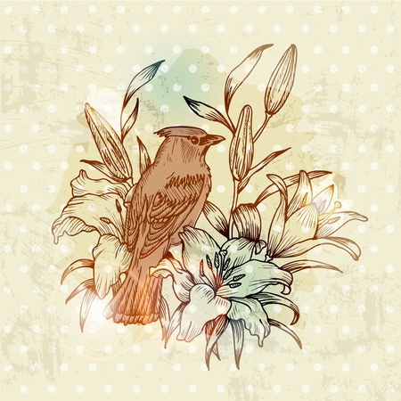 Vintage Spring Card with Bird and Flowers - hand drawn in vector Stock Vector - 12482382