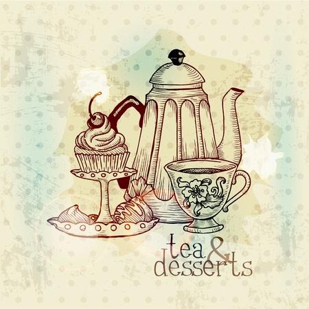vintage cafe: Tea e Dessert - scheda Menu Vintage in vettoriale Vettoriali