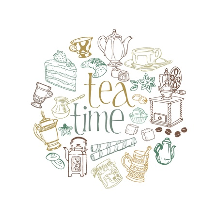 teacup: Card with Tea and Coffee Doodles in vector
