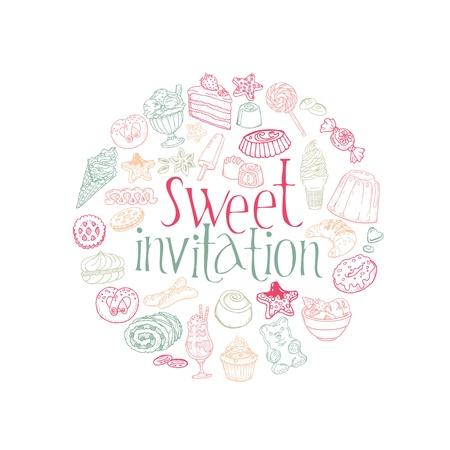 pie de limon: Juego de Tortas, Dulces y Postres de tarjetas-invitaci�n en el vector